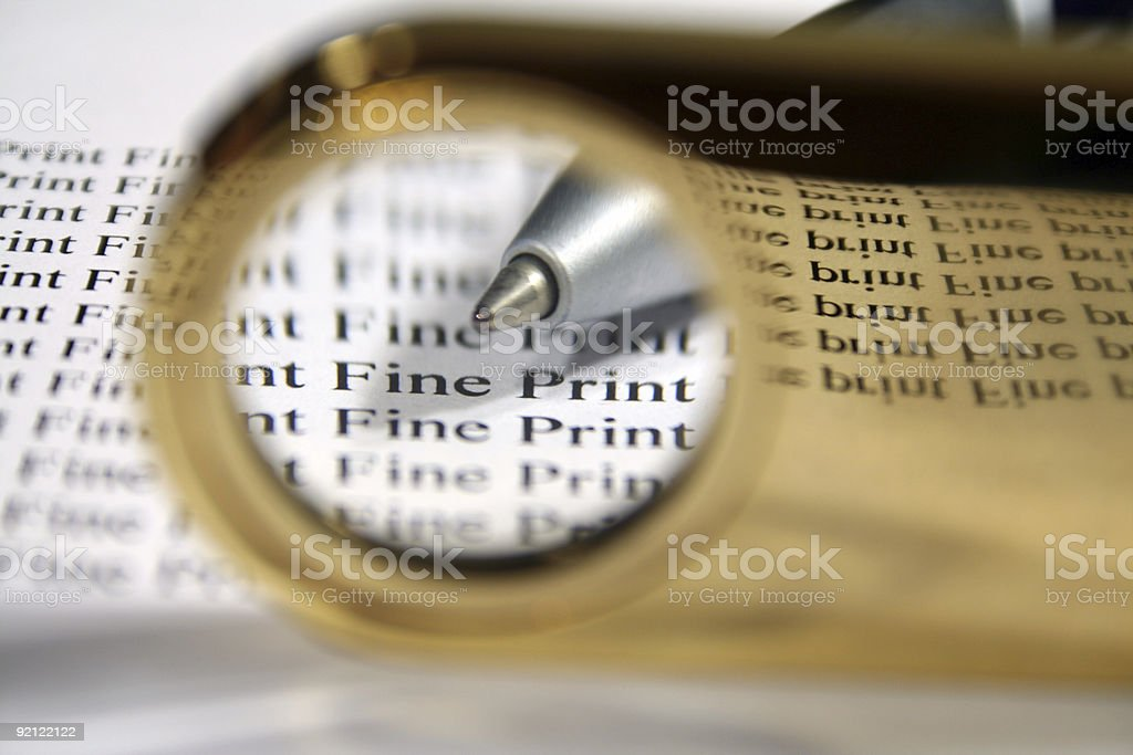 Read The Fine Print royalty-free stock photo
