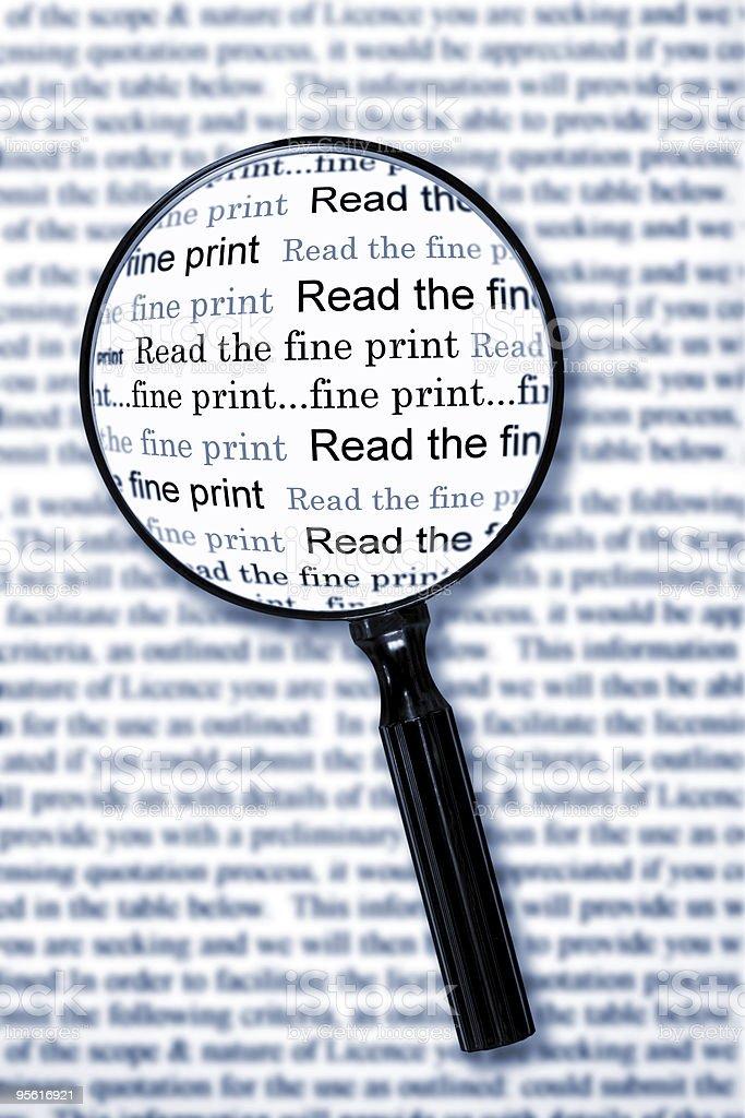 Read the Fine Print stock photo