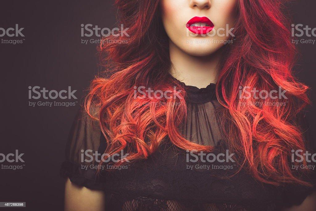 Readhead in black stock photo
