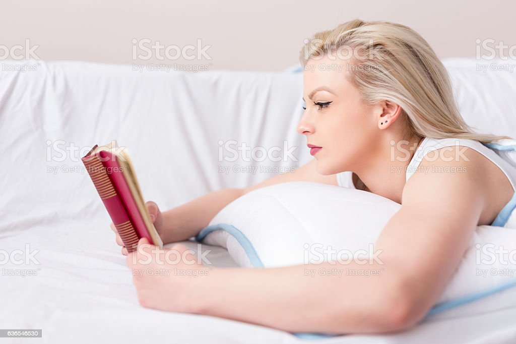Reading a book stock photo