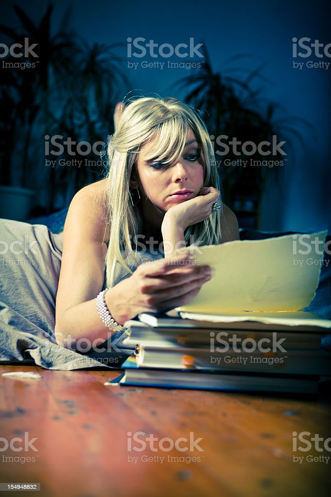 Reading a letter stock photo