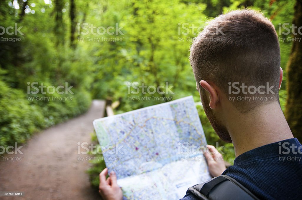 Reading a map stock photo