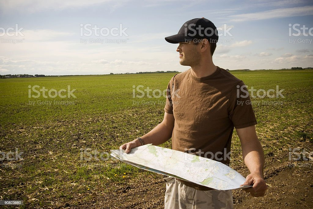 Reading a map royalty-free stock photo