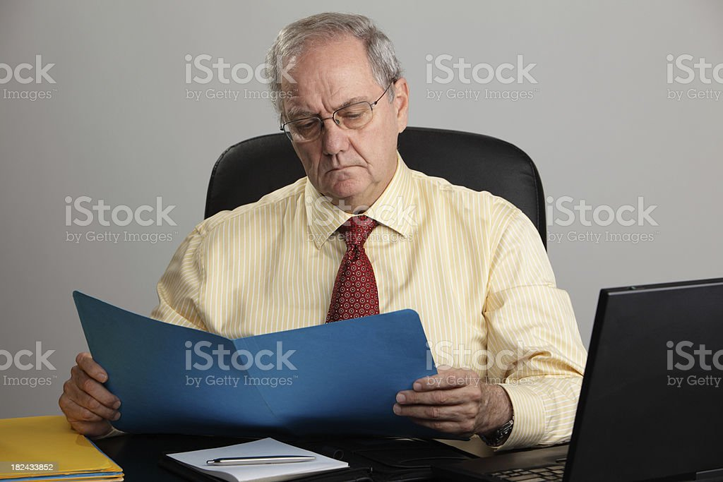 Reading a Report royalty-free stock photo