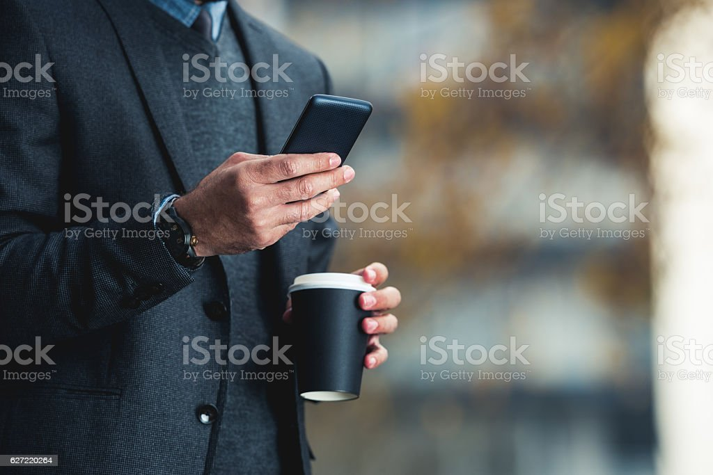 Reading a sms stock photo