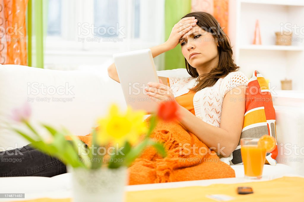 Reading about bad news royalty-free stock photo