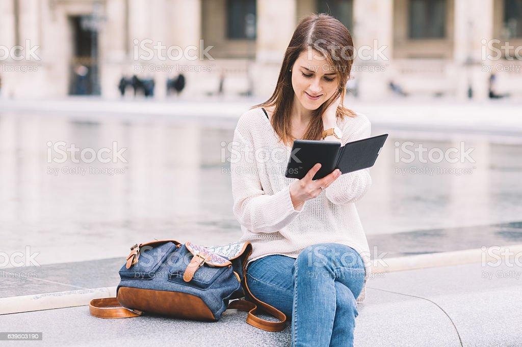Reading an e-book stock photo
