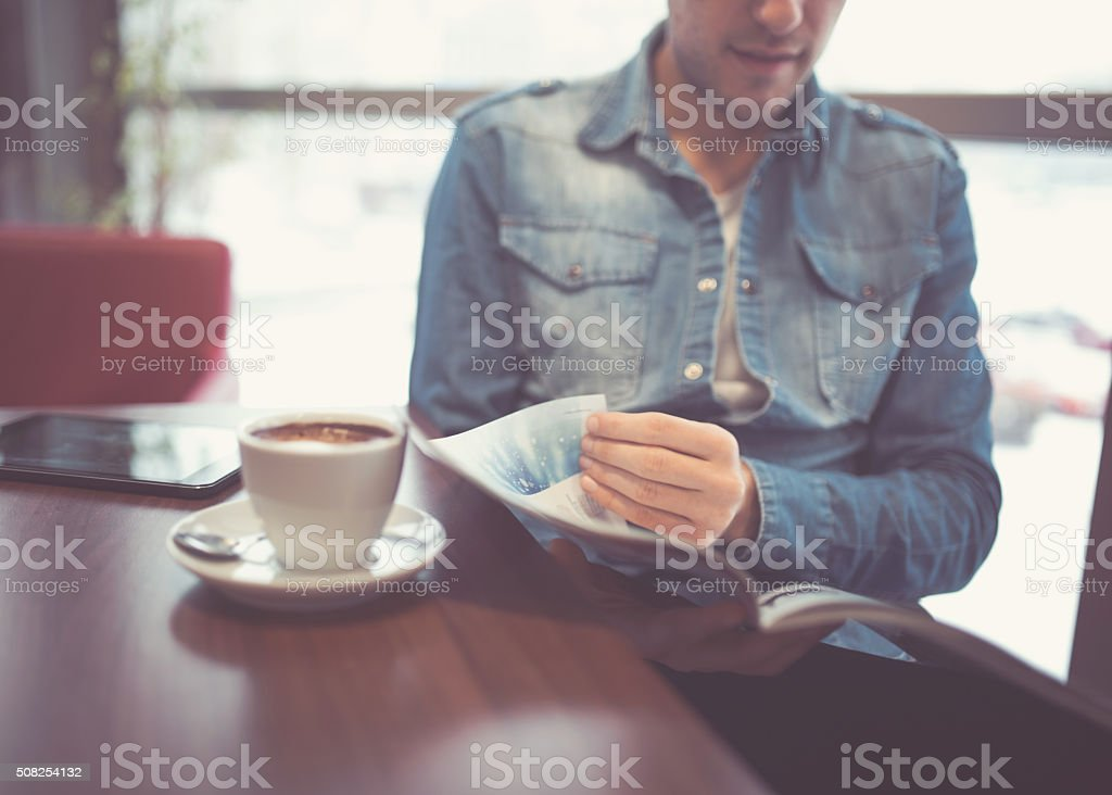 Reading and coffee stock photo
