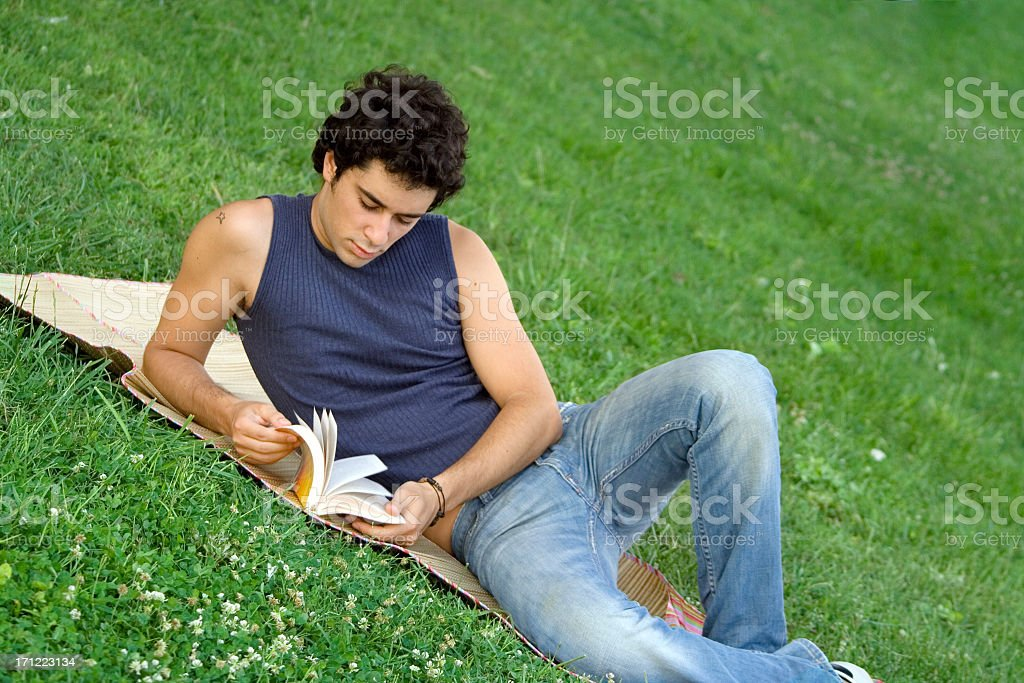 Reading at the park royalty-free stock photo
