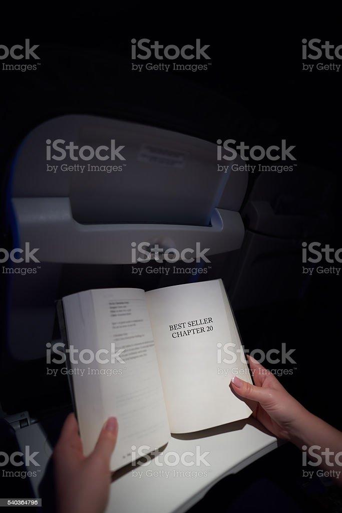reading best seller stock photo