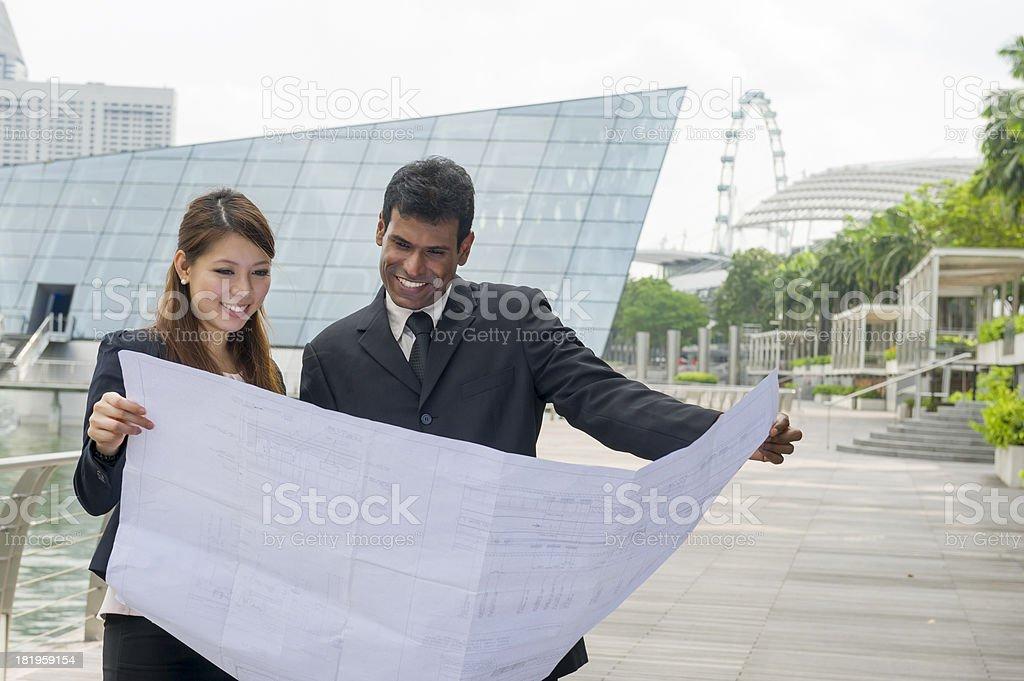 Reading Blueprint stock photo