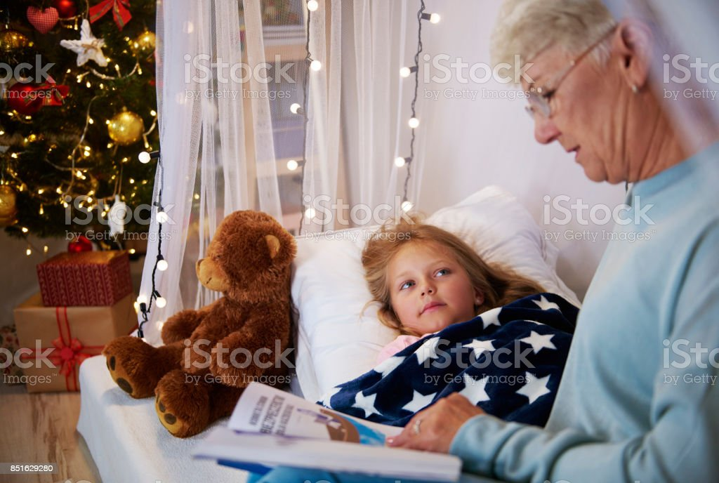 Reading book before a sleep stock photo