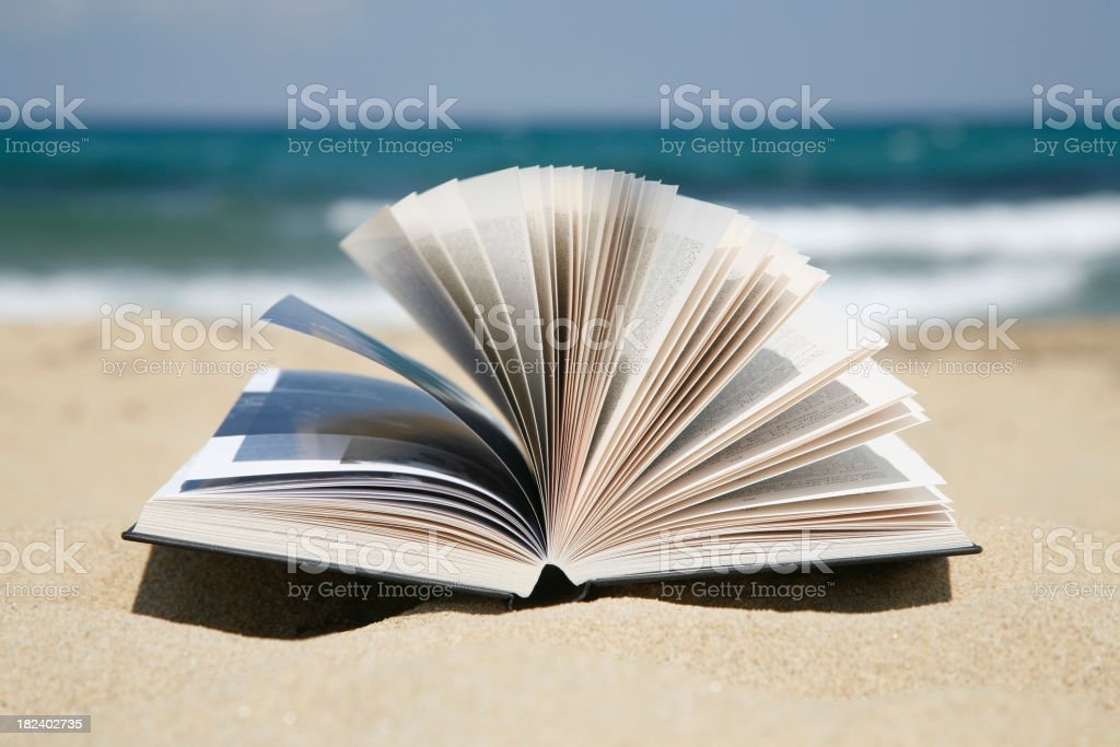 Reading Book on a Sandy Beach royalty-free stock photo