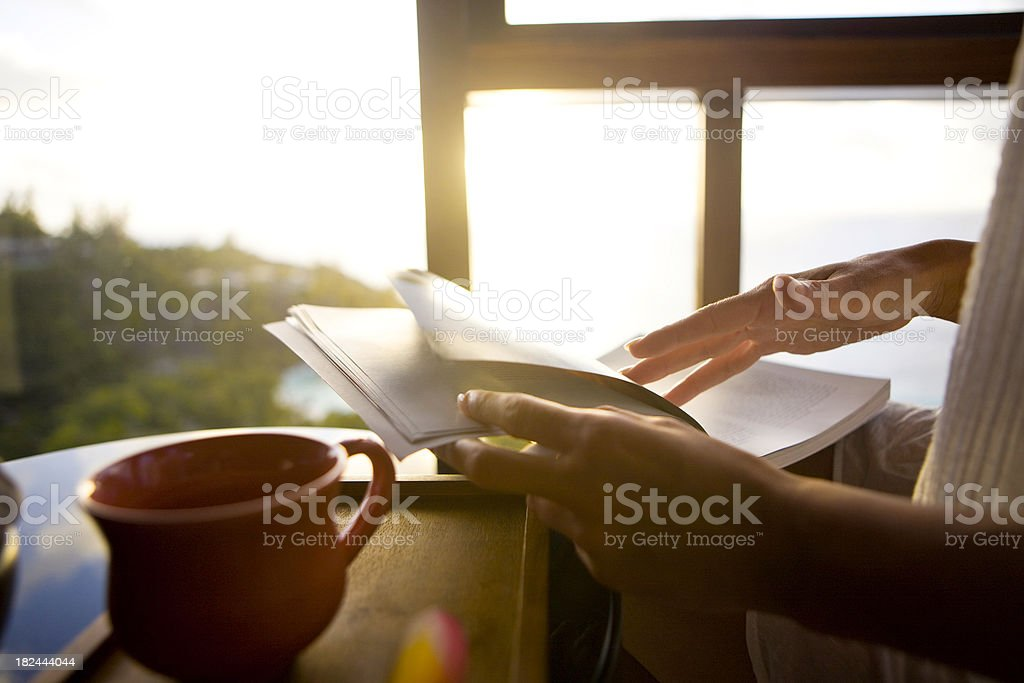Reading book stock photo