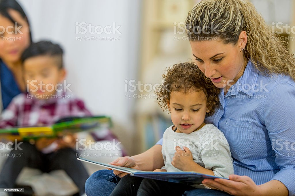 Reading Books Together stock photo