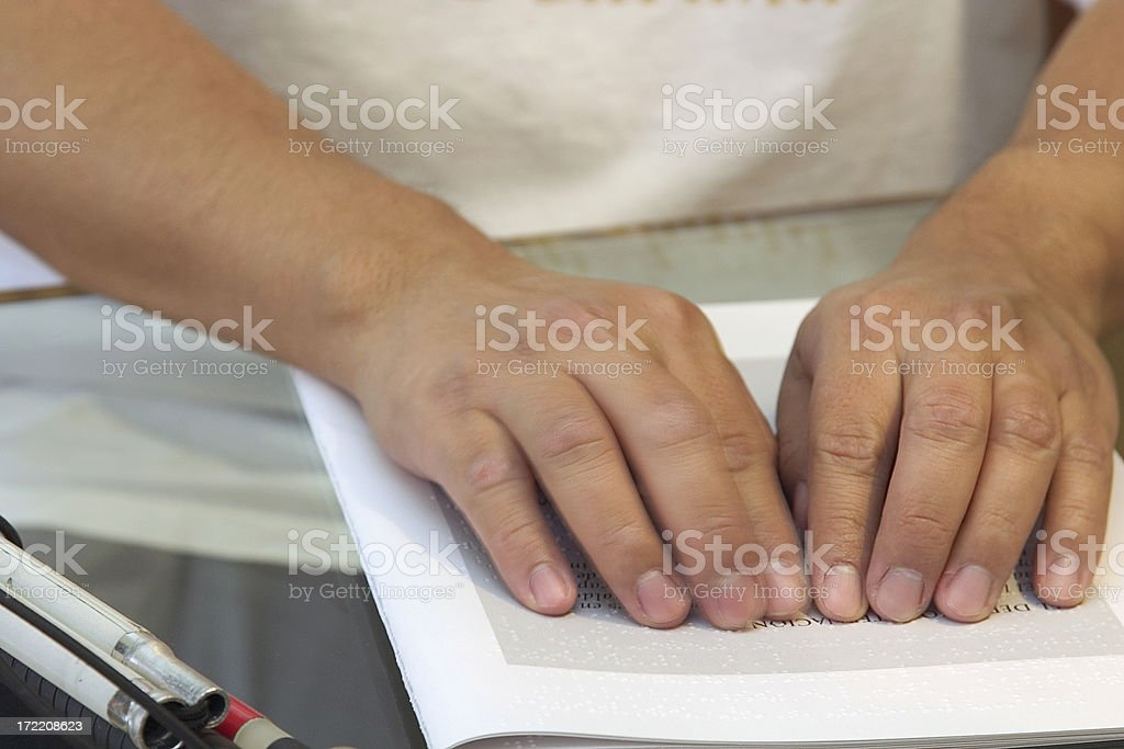 reading braille stock photo