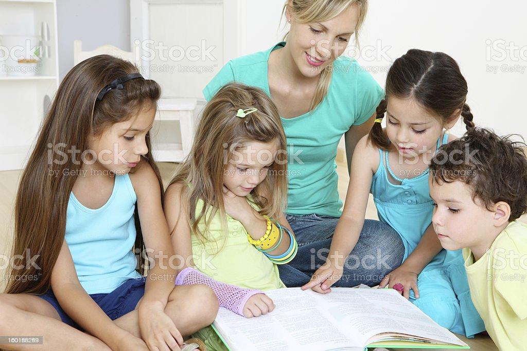 Reading children royalty-free stock photo