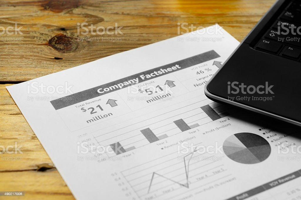 Reading company financial fact sheet stock photo