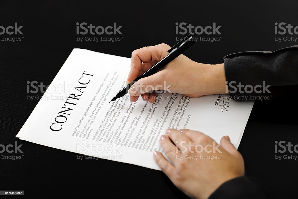 reading contract royalty-free stock photo