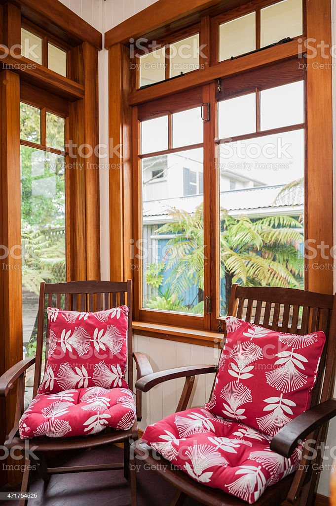Reading corner in 1920s bungalow, New Zealand royalty-free stock photo