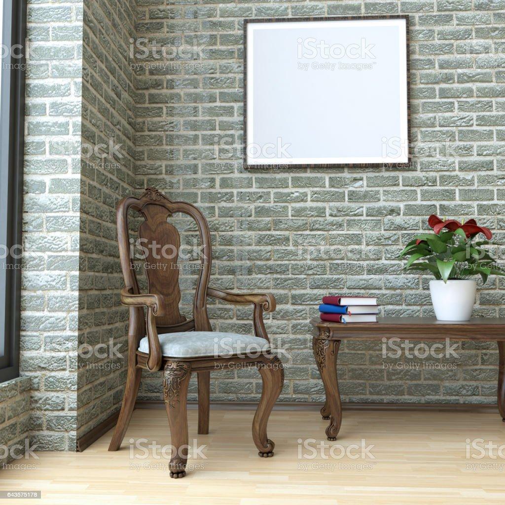 Reading Corner In Living Room Interior stock photo