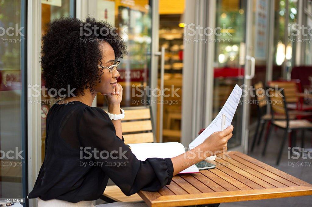 reading documents royalty-free stock photo