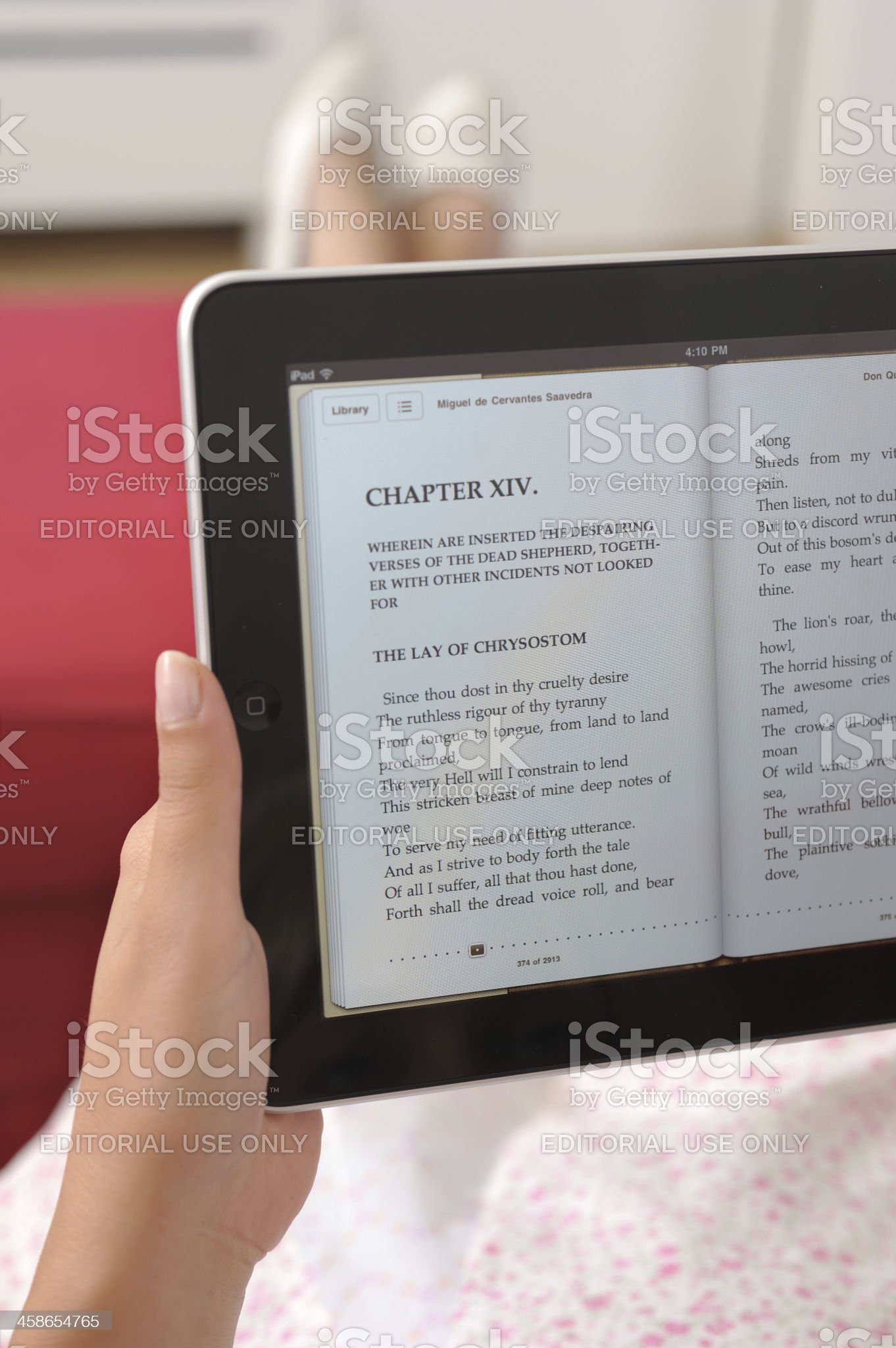 Reading E-book on iPad royalty-free stock photo