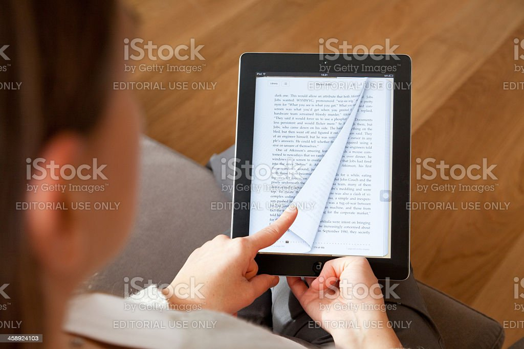 Reading ebook stock photo