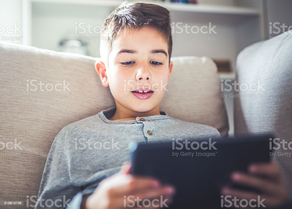 Reading e-book stock photo