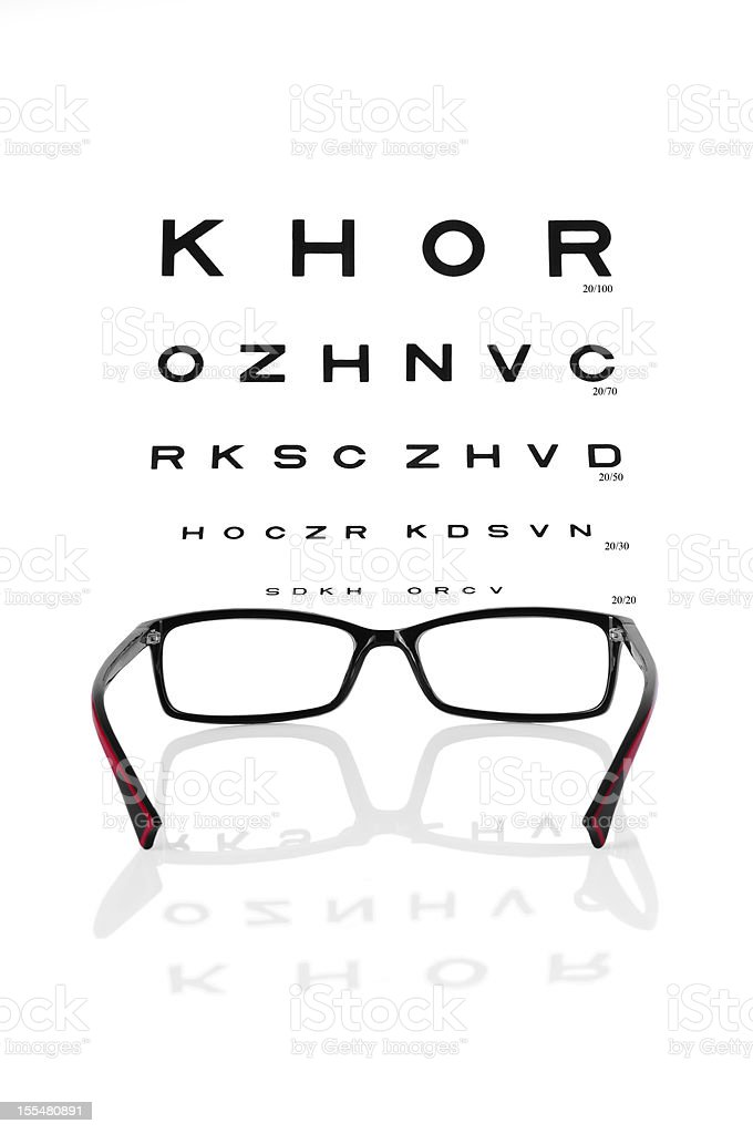 Reading eyeglasses and eye chart royalty-free stock photo