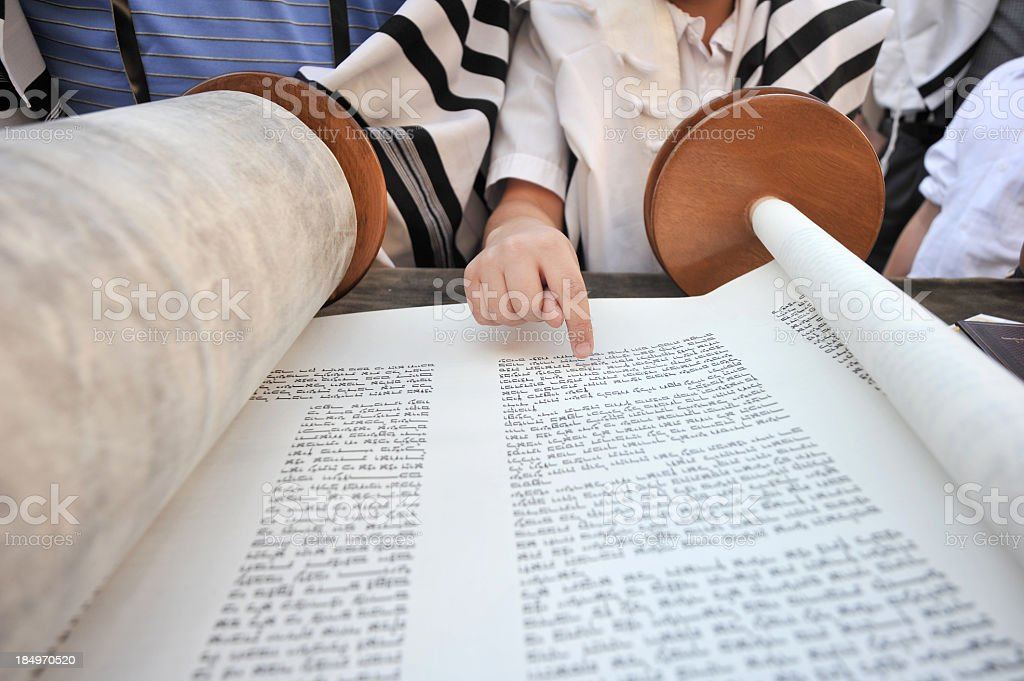 Reading from the Torah stock photo