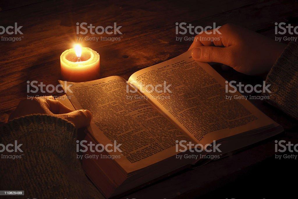 Reading Ghotic Bible stock photo