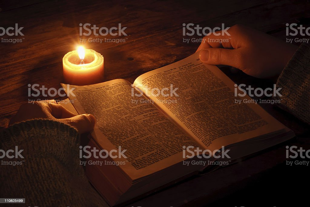 Reading Ghotic Bible stock photo
