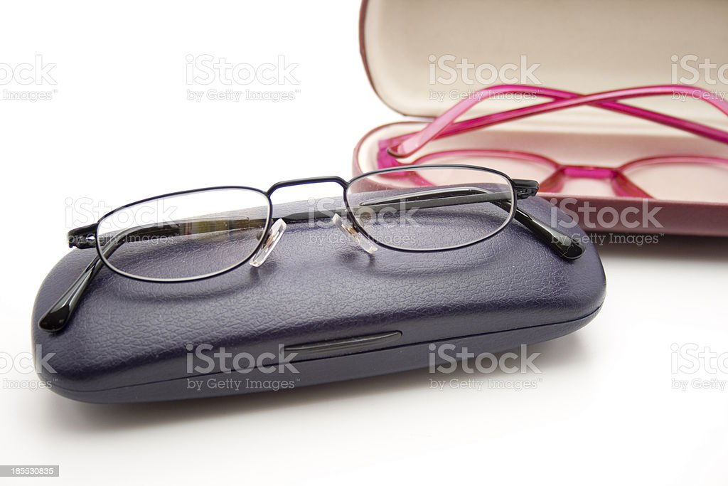 Reading glasse on case stock photo