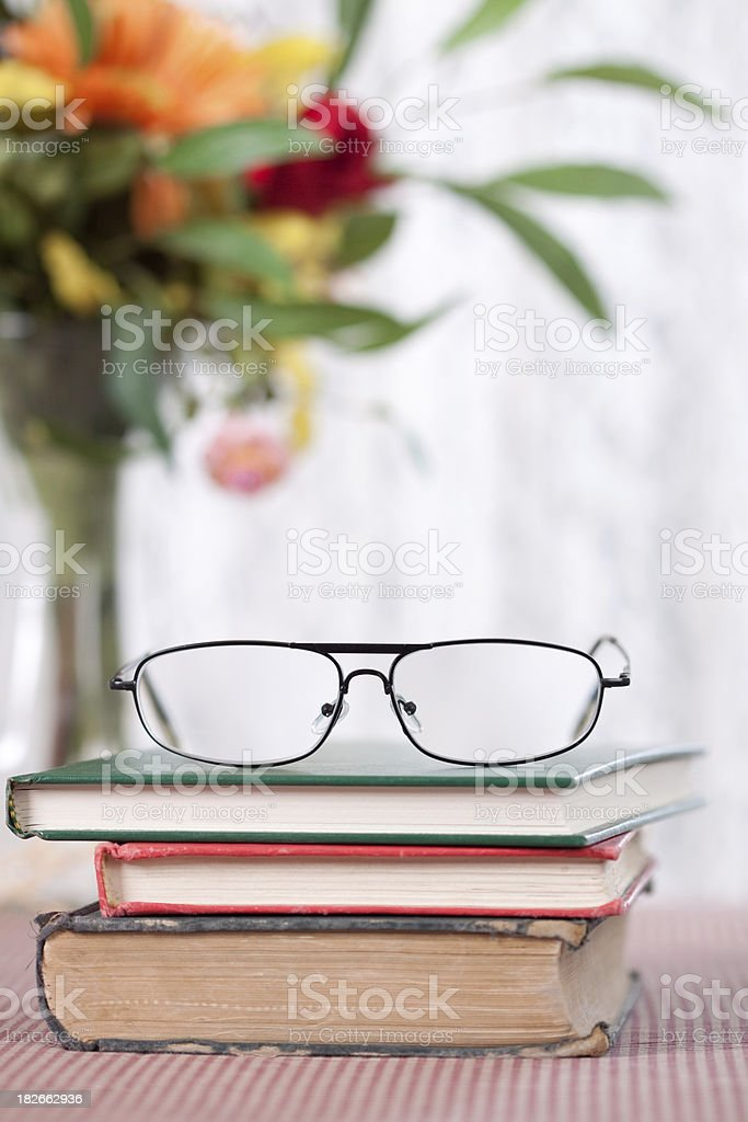 Reading Glasses on Books royalty-free stock photo