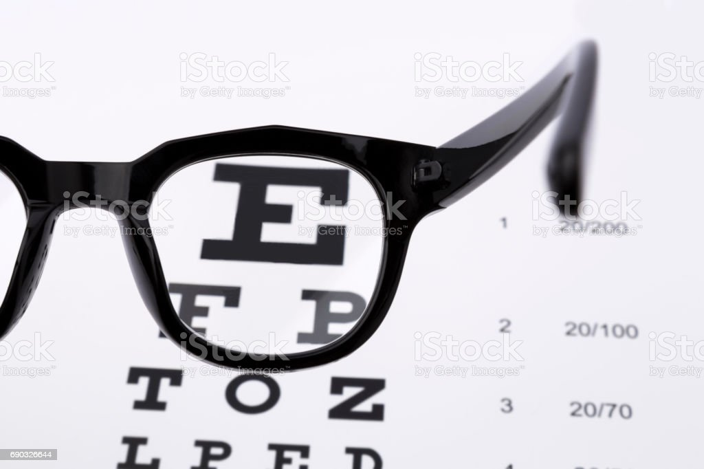 Reading glasses with eye chart isolated on white stock photo