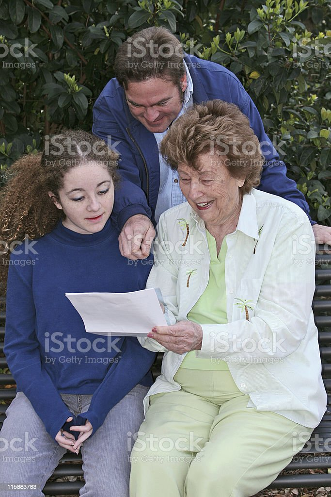 Reading Good News Together royalty-free stock photo