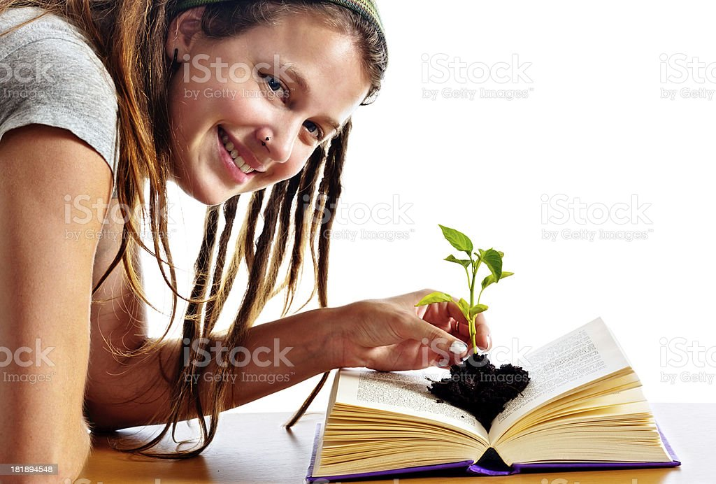 Reading grows your mind Pretty woman enjoys her book royalty-free stock photo