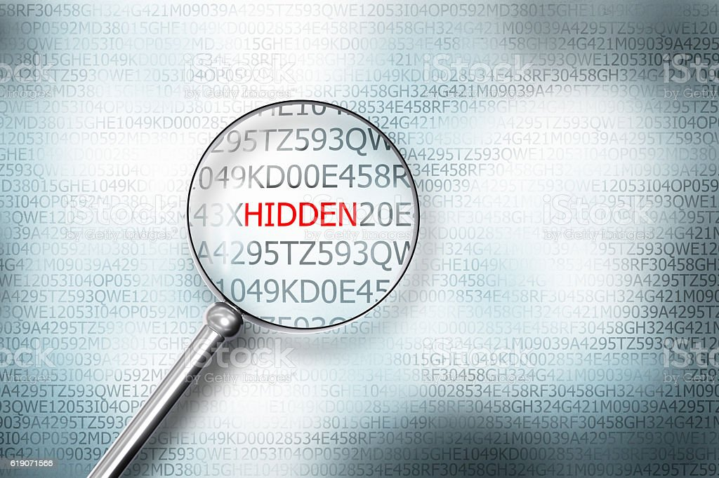 reading hidden screen magnifying glass 3D Illustrastion stock photo