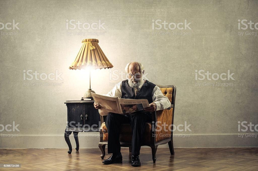 Reading in a vintage style stock photo