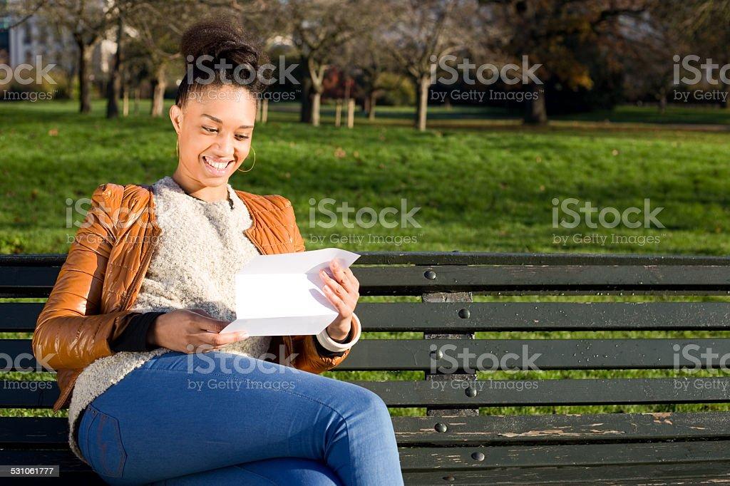 reading letter stock photo