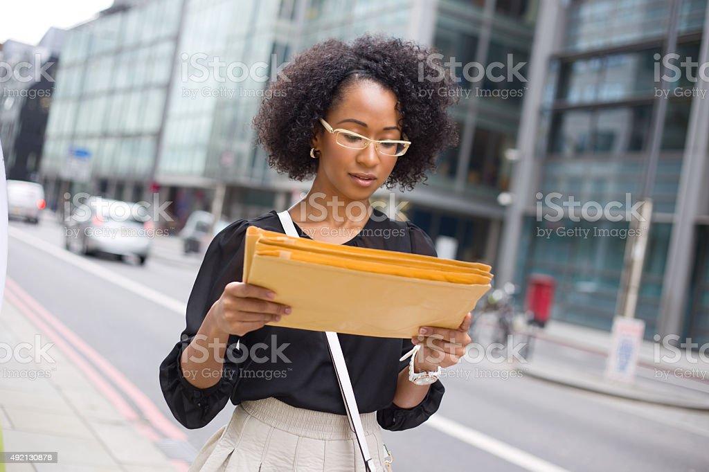 reading mail royalty-free stock photo