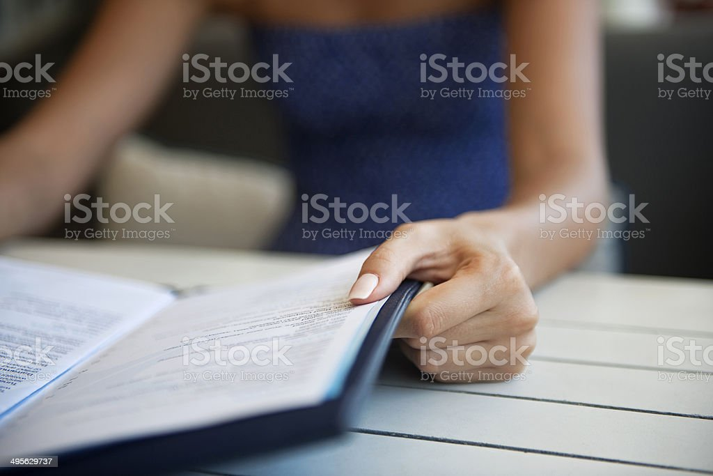 Reading menu stock photo