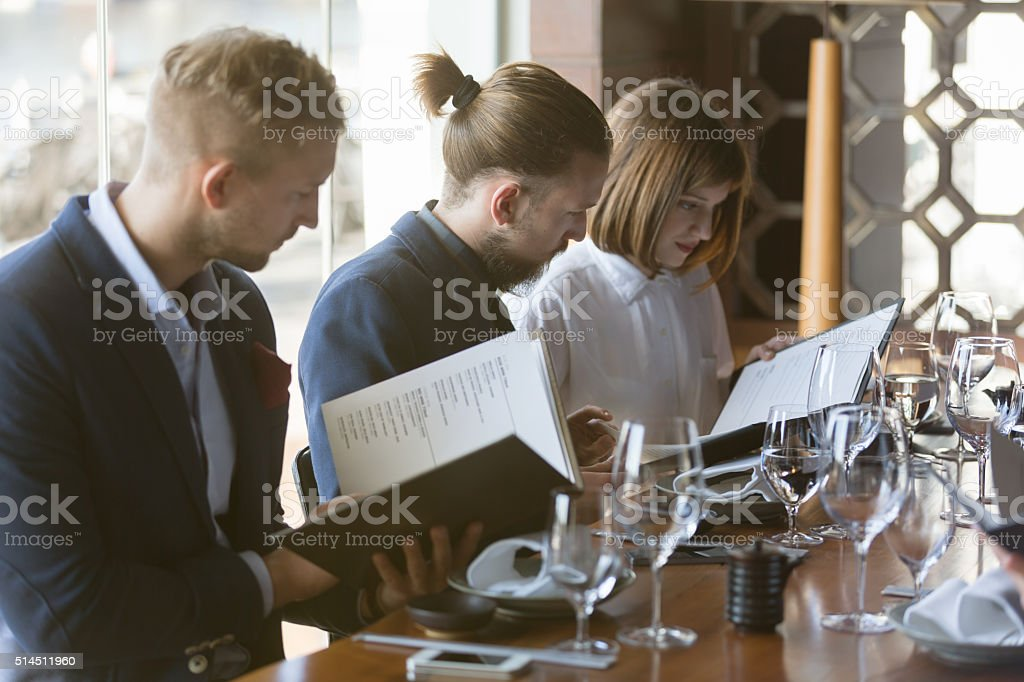 Reading menu stock photo
