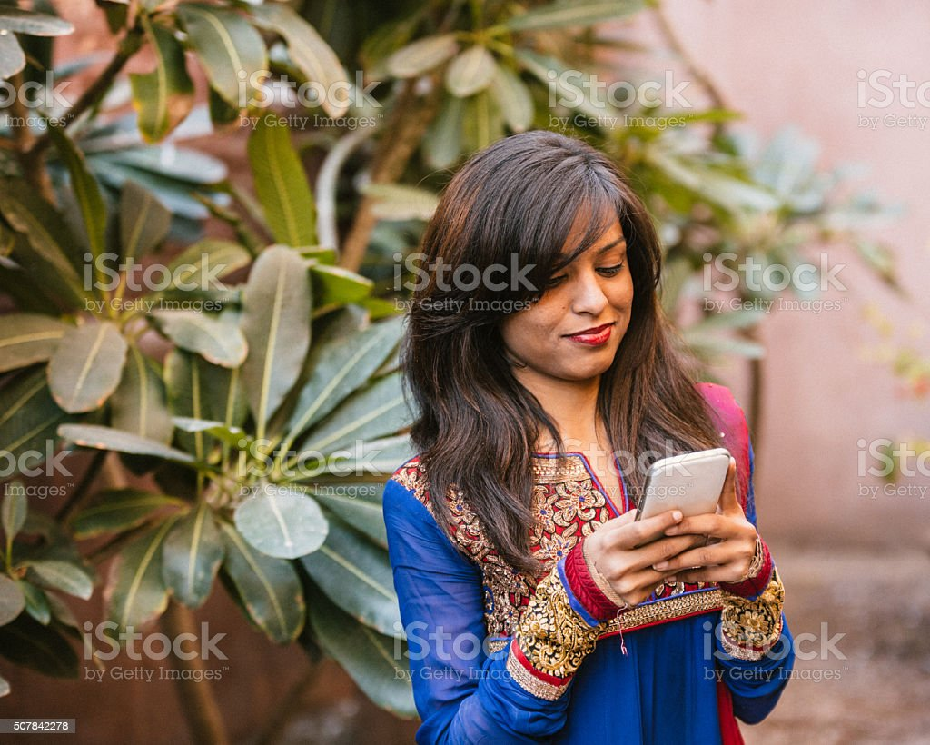 Reading messages stock photo