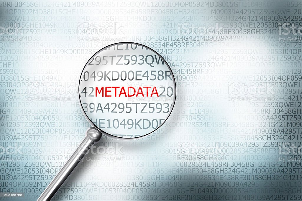 reading metadata on digital computer screen with a magnifying gl stock photo