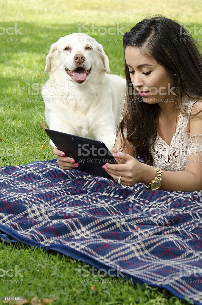 reading my tablet royalty-free stock photo