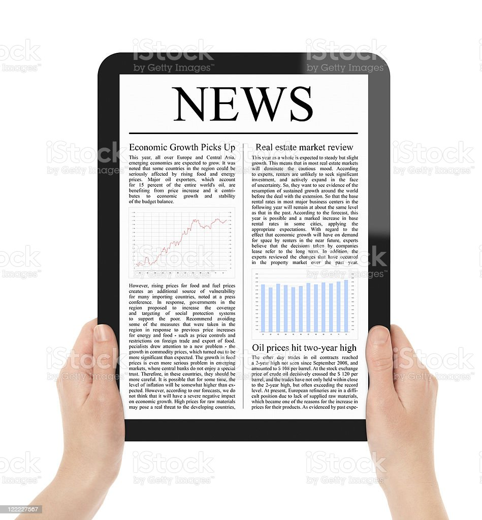 Reading News on Tablet PC royalty-free stock photo
