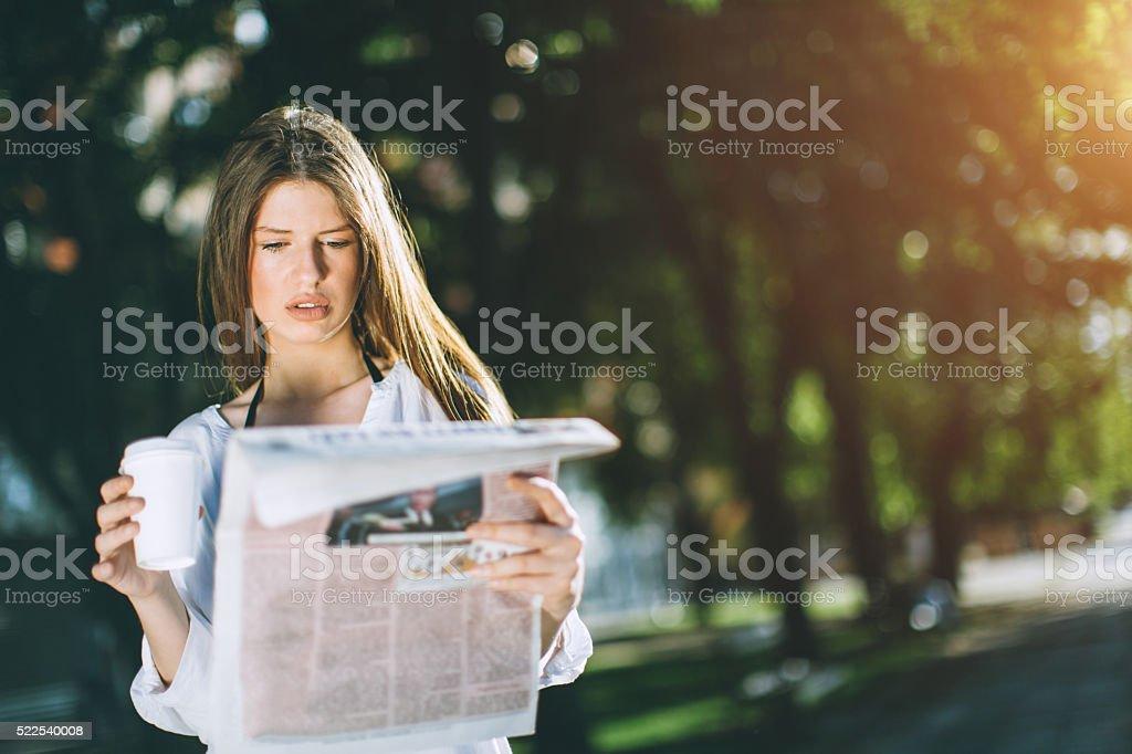 reading news stock photo