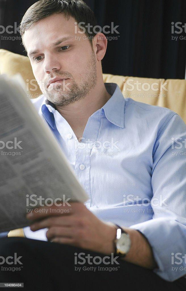 reading newspaper royalty-free stock photo